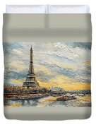 The Eiffel Tower- From The River Seine Duvet Cover