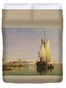 The Euganean Hills And The Laguna Of Venice - Trabaccola Waiting For The Tide Sunset Duvet Cover by Edward William Cooke