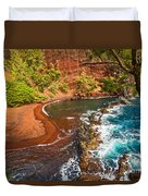The Exotic And Stunning Red Sand Beach On Maui Duvet Cover