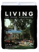 The Exterior Of A House And Patio Furniture Duvet Cover