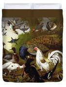 The Fable Of The Raven With A Peacock, Cockerel, Woodpecker, Jay, Woodcock, And Magpie Duvet Cover
