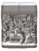 The Feast, After A 17th Century Engraving By N. De Bruyn.  From Illustrierte Sittengeschichte Vom Duvet Cover