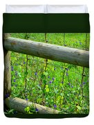The Fence At The Meadow Duvet Cover