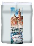 The Ferry Arrives At Galata Port - Istanbul Duvet Cover