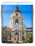 The Fountain - The Beautiful Pasadena City Hall. Duvet Cover