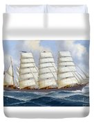 The Four-masted Barque Cedarbank At Sea Under Full Sail Duvet Cover