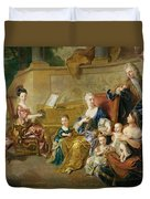 The Franqueville Family, 1711 Oil On Canvas Duvet Cover