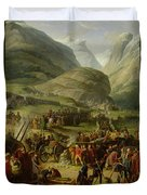 The French Army Travelling Over The St. Bernard Pass At Bourg St. Pierre, 20th May 1800, 1806 Oil Duvet Cover
