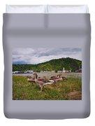 The Geese Of St Goar Am Rhein Duvet Cover
