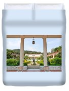 The Getty Villa Main Courtyard View From Covered Walkway. Duvet Cover