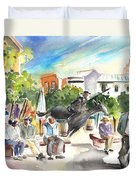 The Ghost Of Don Quijote In Alcazar De San Juan Duvet Cover