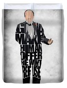 The Godfather Inspired Don Vito Corleone Typography Artwork Duvet Cover by Ayse Deniz