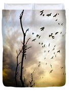 The Gods Laugh When The Winter Crows Fly Duvet Cover by Bob Orsillo