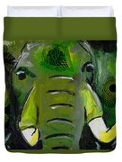 The Green Elephant In The Room Duvet Cover