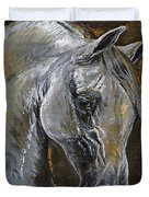 The Grey Arabian Horse Oil Painting Duvet Cover