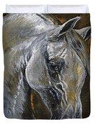 The Grey Arabian Horse Oil Painting Duvet Cover