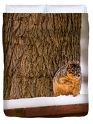 The Grey Squirrel George In Winter Duvet Cover