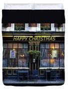 The Happy Christmas Pub Duvet Cover
