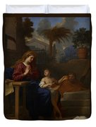 The Holy Family In Egypt Duvet Cover by Charles Le Brun