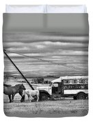 The Horses And The Welding Truck Duvet Cover