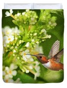 The Hummer And The Butterfly Bush Duvet Cover