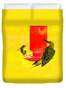 The Humming Bird And Gila Woodpecker Duvet Cover