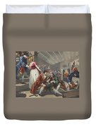 The Idle Prentice Betrayed Duvet Cover by William Hogarth