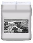 The Jagged Rocks And Cliffs Of Montana De Oro State Park In California In Black And White Duvet Cover