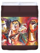 The Ladies Of Loket In The Czech Republic Duvet Cover by Miki De Goodaboom