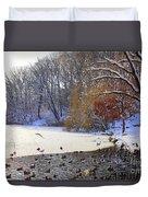 The Lake In Winter Duvet Cover