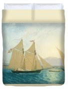 The Launch La Sociere On The Lake Of Geneva Duvet Cover by Francis  Danby
