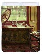 The Lawn Tennis Season, 1881 Duvet Cover by Mary Hayllar