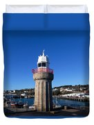 The Lighthouse And Fishing Harbour Duvet Cover