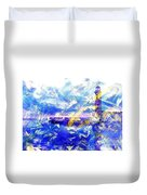 The Lighthouse Through Turbulent Waters Duvet Cover