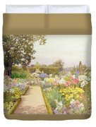 The Lily Border At Great Tangley Manor Duvet Cover