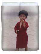 The Little Boy In The Red Silk Dress Duvet Cover