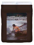 Little Girl And Ganga River Duvet Cover