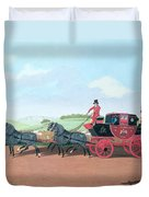 The Liverpool And London Royal Mail Coach, 1812 Oil On Canvas Duvet Cover