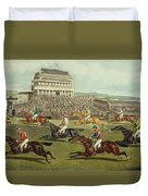 The Liverpool Grand National Steeplechase Coming In Duvet Cover by Charles Hunt and Son