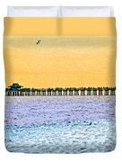 The Long Pier - Art By Sharon Cummings Duvet Cover
