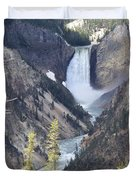 The Lower Falls Of Yellowstone River Duvet Cover