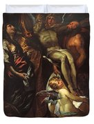 The Lowering Of The Cross With Sts Mary Magdalene Augustine Jerome And Angels Duvet Cover