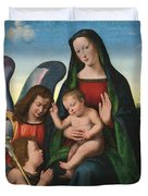 The Madonna And Child With The Young Saint John The Baptist And An Angel  Duvet Cover