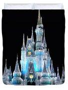 The Magic Kingdom Castle In Frosty Light Blue Walt Disney World Duvet Cover