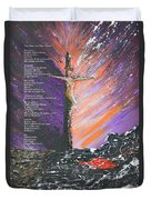 The Man On The Cross With Poem Duvet Cover