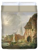 The March Gate In Buxtehude Duvet Cover by Adolph Kiste