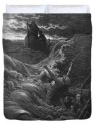 The Mariner As His Ship Is Sinking Sees The Boat With The Hermit And Pilot Duvet Cover by Gustave Dore