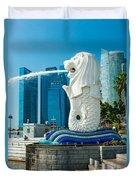 The Merlion  Fountain - Singapore. Duvet Cover