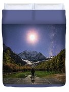The Milky Way And Waxing Cresent Moon Duvet Cover