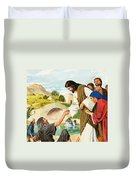 The Miracles Of Jesus  Making The Lame Man Walk Duvet Cover